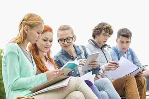 """סטודנטים לומדים ביחד בפארק לקראת מבחו אמי""""ר"""